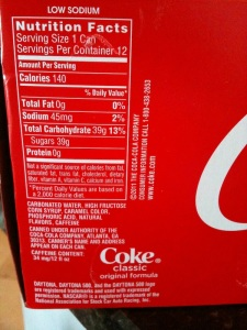 Coke's Fridge-Pack Nutritional Label