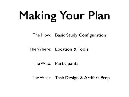 Making your plan: Basic study configuration, location and tools, participants, task design, and artifact prep
